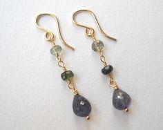 Iolite and Tourmaline Earrings  Beaded by VeronicaRussekJoyas