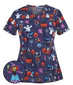 Peaches Scrubs Boo Bash Print Top - Style # P9451BSH #uniformadvantage #peachescrubs #halloweenscrubs