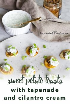 Need an easy grain-free & paleo appetizer or side dish? Try these delicious Sweet Potato Toasts with Whipped Goat Cheese, they'll definitely be a hit at your next gathering! Sweet Potato Toast, Paleo Sweet Potato, Sweet Potato Recipes, Paleo Side Dishes, Side Dish Recipes, Dinner Recipes, Paleo Vegetables, Vegetable Recipes, Whipped Goat Cheese