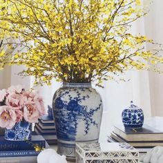 Spring branches in blue and white temple jar.