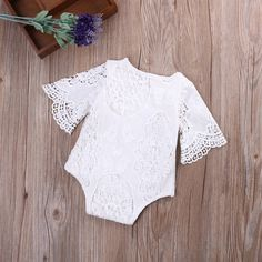 Image of Ruffled sleeves lace romper