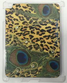 NEW DEBBIE BROOKS IPAD 2 IPAD 3 CLEAR COVER LEOPARD & PEACOCK SWAROVSKI CASE #DebbieBrooks