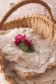Basket of doilies
