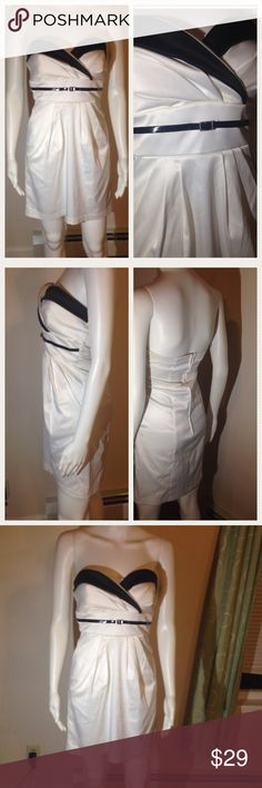 ❌CLEARANCE✳️‼️‼️ White Sexy Dress Size 3 fits 4 Black White Trixxi Clothing Dress strapless. Super cute and pretty! This dress is great for spring summer parties beach road trips shopping night out vacation traveling cruises after work attire girly USA polyester blend Trixxi Tops Blouses