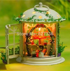 Wedding hall DIY Handmade dollhouses doll houses Wooden model with sound control LED lights diy handmade hut kit