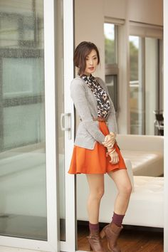 Great early fall outfit when it's not too Cold :) orange is such a universal color. Makes me happy