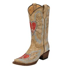 Cowboy boots with a heart peace sign!!