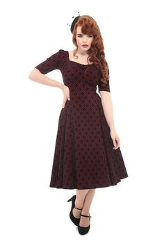 Dolores Doll Half Sleeve Brocade Dress Collectif Vintage Clothes Dresses @ Collectif and Vintage Style Clothing and Rockabilly Collection 1940s Dresses, Vintage Style Dresses, Vintage Clothing, 40s Fashion, Rockabilly Fashion, Vintage Fashion, Retro Outfits, Vintage Outfits, Brocade Dresses