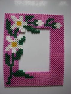 Flower photo frame perler beads