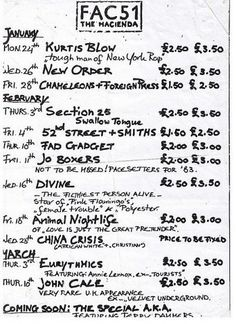 Flyer with musical listings for Fac 51 Haçienda shows, Manchester, Rock Posters, Concert Posters, History Of Dance, Factory Records, Acid House, Salford, Joy Division, My Generation, Post Punk