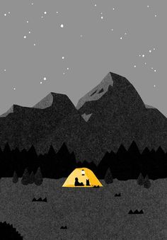 e0062892_53c86f6dd90b9.jpg (554×796) Night Illustration, Mountain Illustration, Graphic Design Illustration, Graphic Art, Tent Drawing, Camping Drawing, Night Sky Drawing, Night Sky Painting, August 15