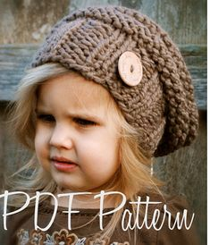 This listing is a PDF PATTERN ONLY for the Brielle Slouchy, NOT finished product.  This hat is handcrafted and designed with comfort and warmth in mind... Perfect for layering through all the seasons...  This hat makes a wonderful gift and of course also something great for your little one to wrap up in too.  All patterns written in standard US terms.  *Sizes are for Toddler, Child and Adult sizes *Any Super Bulky yarn  ***You can always contact me if you have any problems with the pattern…
