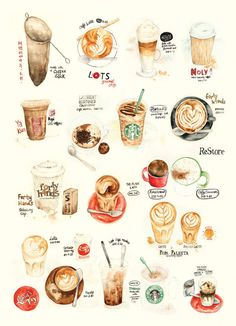 Lily X 手绘水彩咖啡小图. And more coffee illus on the page!