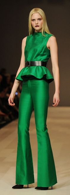 Fall Fashion Trend: Shades of Green: jade, emerald and pine evoke instant luxury. Pink Tartan Fall 2012. #style