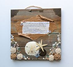 Beach Art,  J.F.K. Quote About The Sea, Sand Dollar, Starfish, Mixed Media , Shells, Beach Glass,  Mounted On Wooden Plaque by ArtofMyFocus on Etsy