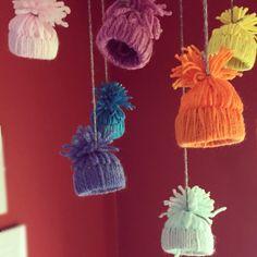 Mini bobble hats simple but effective winter decoration