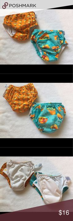 2 cloth swim diapers 18 months neutral prints Bundle lot of TWO iPlay reusable swim diapers, size 18 months. Fits 22-25 lbs., 10-11.5 kg. Side snap closure, elastic leg openings and waistband.  Aqua Surf Sunset and Orange Sunset Geo prints.   Pre-owned, but definitely taken care of. No staining or stink.  Two for the price of one new diaper! Would prefer to sell as lot, but will consider splitting for the right price. ***Price is firm unless bundled with other items from my closet*** Swim