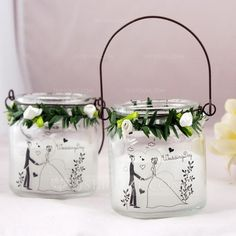Noble Bride And Groom Glass/Paraffin Wax Candle/Hanging Candle Holder (128061368)