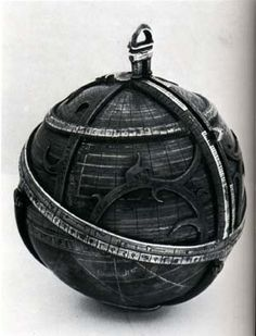 Spherical Astrolab (dated 1480): These were rare and the only one known to exist. The large ecliptic circle bears the names of the signs of the zodiac. The rete, or star map, is attached to the globe with pointers for nineteen fixed stars.