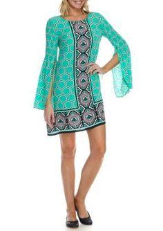 c4acfa66b052 Crown Ivy JadePinkNavy Smock Sleeve Dress Crown And Ivy