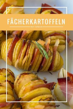Die ultimativen Fächerkartoffeln mit Südtiroler Speck Recipe for delicious fan potatoes with rosemary and bacon Easy Pork Chop Recipes, Bacon Recipes, Crockpot Recipes, Healthy Pork Chops, Rice Recipes For Dinner, Lard, Baked Pork, Quick Easy Meals, Bacon Bacon
