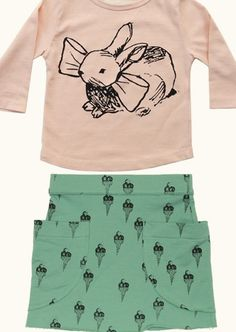 Bunnies + Bows rock. Kid's outfit....is it weird that I would wear this?