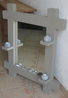 cardboard mirror frame. and another link: http://www.mariekrtonne.com/article-32875877.html