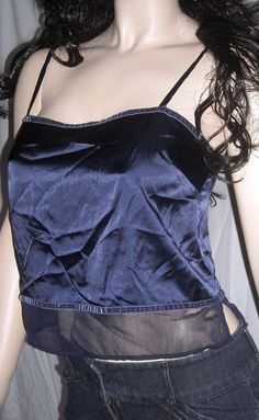 $9.99 Victoria's Secret Size Small Dark Blue Silky Camisole W/ Sheer Panel at Waist #VictoriasSecret #TankCami #Casual