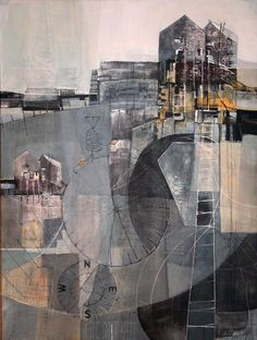 Jill ehlert ladder series - acrylic and mixed media on canvas collage and m Collage Kunst, Canvas Collage, Collage Art Mixed Media, Mixed Media Canvas, Mixed Media Artists, Tree Collage, Mixed Media Painting, Landscape Artwork, Urban Landscape