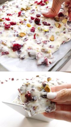 Christmas Bark (Cranberry Pistachio bark)-the best dessert ever for christmas o . - Christmas Bark (Cranberry Pistachio bark)-the best dessert ever for christmas or thanksgiving! Christmas Bark, Christmas Snacks, Xmas Food, Christmas Cooking, Christmas Parties, Christmas Desserts Easy, Christmas Chocolate, Christmas Appetizers, Christmas Goodies