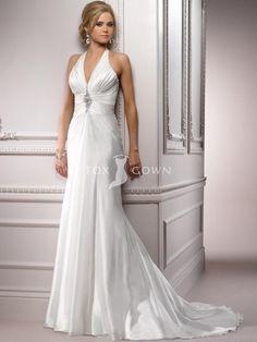 Halter A-line Organza Wedding Dress with Beaded Embellishment