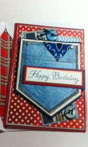 Another stamped blue jean pocket card with fabric bandana.