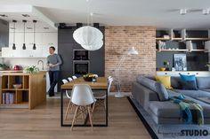 WNĘTRZA LOFTOWE New Living Room, Living Room Modern, Home And Living, Living Room Designs, Living Room Decor, Dream Home Design, Home Interior Design, House Design, Open Plan Kitchen Dining Living