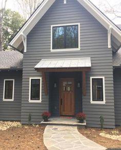 Benjamin Moore Kendall Charcoal Gray Paint Color Palette Exterior Paint - Home & DIY Exterior Gris, Exterior Gray Paint, Exterior Paint Colors For House, Paint Colors For Home, Exterior Design, Grey Paint, Paint Colours, Exterior Paint Ideas, Exterior House Paint Colors