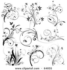scroll pattern | ... Collage Of Nine Black And White Floral Scroll Design... by KJ Pargeter