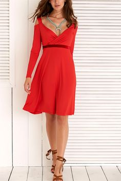 $16.51 Hollow Out Long Sleeve Plunging Neck Dress