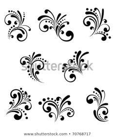 Set of beautiful floral elements isolated on white. Vector version also availabl… Set of beautiful floral elements isolated on white. Vector version also available in gallery Face Painting Designs, Paint Designs, Body Painting, Nail Art Designs, Stencil Designs, Painting Tips, Nail Art Arabesque, Scroll Design, Arte Floral