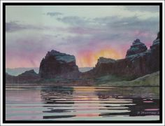 """""""Labyrinth Bay Sunrise"""" - Lake Powell Watercolor by David Drummond - Original Watercolor Paintings - Albuquerque, New Mexico"""