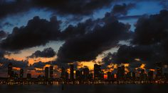 A beautiful sunset over the skyline of Cartagena, Colombia.