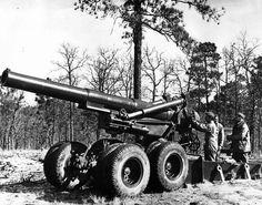203-мм гаубица M1 на учениях, 1944 год. - американские 8 дюймов