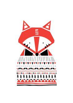 Estampe de Fox - bien habillé, Illustration de l'Animal, Geomertric modèles, dessins Illustration, chambre enfants, Kids salle art, salle de la pépinière Art