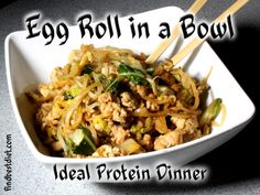 This Egg Roll in a Bowl recipe satisfies my Chinese food craving when doing Idea. - This Egg Roll in a Bowl recipe satisfies my Chinese food craving when doing Ideal Protein! Lunch Recipes, Appetizer Recipes, Dinner Recipes, Healthy Recipes, Protein Recipes, Keto Recipes, Clean Recipes, Rice Recipes, Easy Recipes