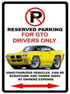 1970 Pontiac GTO Muscle Cartoon No Parking Sign *** Home Improvement Projects. Be sure to check out this awesome product.