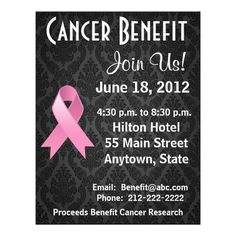 Cancer Benefit Flyer Fundraiser Flyer Cancer Ribbon Flyer