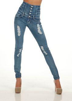 Cute Butt Lift Ripped Jeans- Butt Lifting Denim- Skinny Butt Lift Jeans