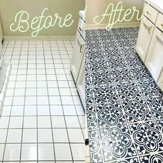 Our Polanka Tile stencil is a great choice for a trendy makeover! Based on traditional Portuguese Azulejos tile designs, this tile stencil is perfect for creating a gorgeous accent wall, kitchen tile backsplash, stenciled staircase, table top or floor! Diy Flooring, Bathroom Flooring, Kitchen Flooring, Kitchen Tile, Laminate Flooring, Kitchen Cabinets, Painting Tile Floors, Painted Floors, Painted Floor Tiles