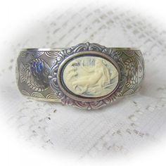 Mermaid Cuff Bracelet - Silver Engraved Fish Cuff Bangle - Little Mermaid - Victorian Art Nouveau Theme