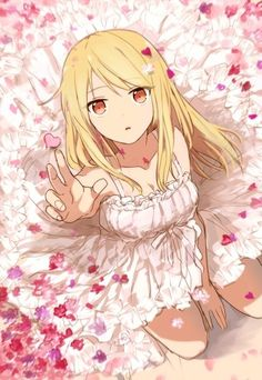 Anime girl in white dress, with heart-shaped flower petals.```` looks like Lucy from Fairy Tail to me