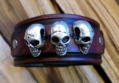 Leather Cuff with Skulls-Black & Red-Gunmetal by LeatherVision