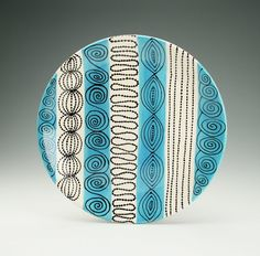 Teal Blue, Black, White Bohemian Serving Platter Hand Painted  Dinnerware - 12""